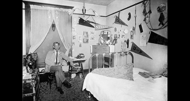 Charles D. Martin poses in his room in the St. Albans Hotel in 1912.