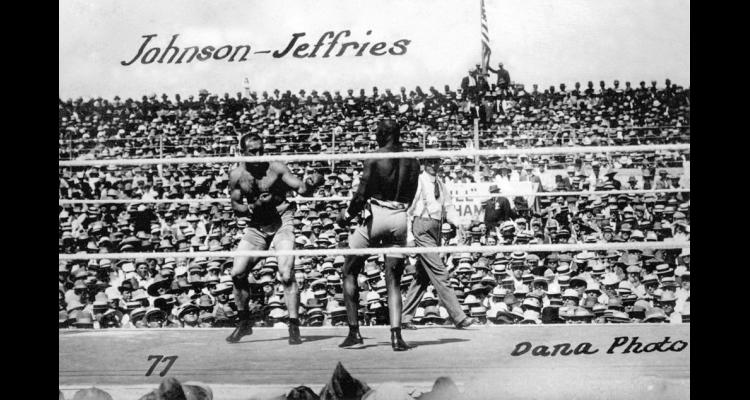 Photo of the heavyweight championship fight between Jack Johnson and Jim Jeffries.