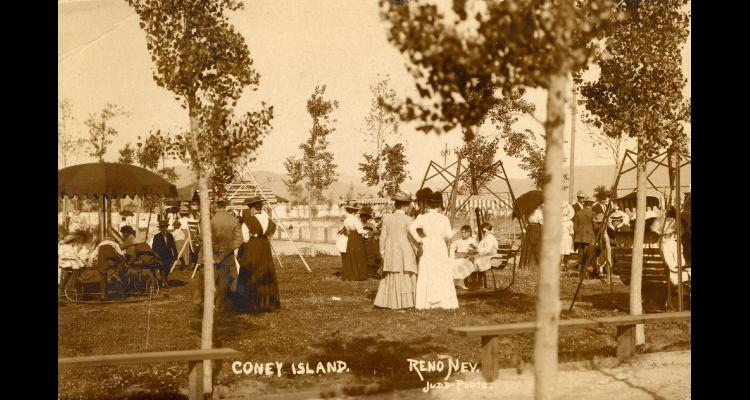 Patrons enjoying the grounds of the Coney Island resort, ca. 1910.